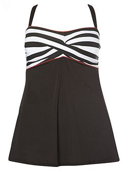 Black Stripe Print Swimdress