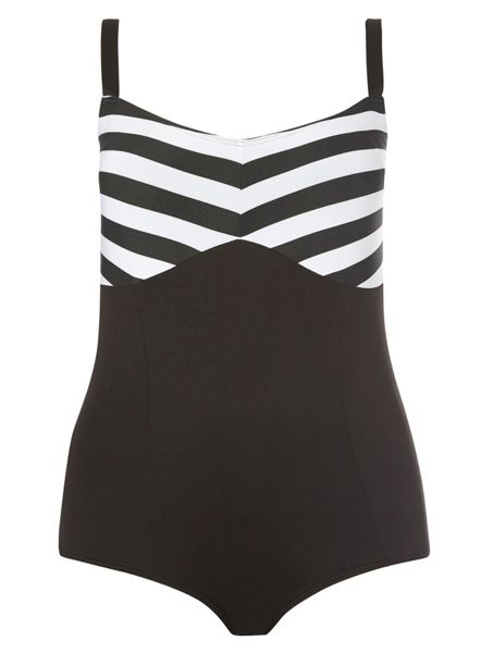 Evans Black Stripe Print Swimsuit