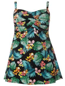 Evans Black Tropical Print Swimdress