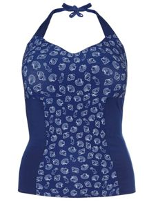 Evans Navy Shell Print Tankini Top