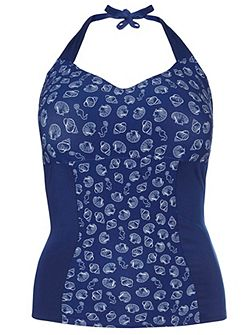 Navy Shell Print Tankini Top
