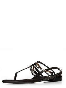 Extra wide fit black patent toe post sandal