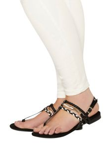 Evans Extra wide fit black patent toe post sandal