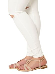 Evans Extra Wide Fit Nude Diamante Sandal