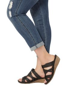 Evans Extra Wide Fit Black Comfort Wedge