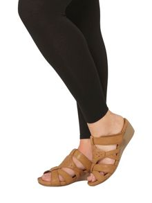 Evans Extra Wide Fit Tan Comfort Wedge