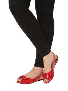 Evans Extra Wide Fit Red Patent Bow Slingback