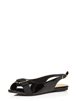 Extra Wide Fit Black Patent Slingback