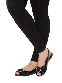 Evans Extra Wide Fit Black Patent Slingback