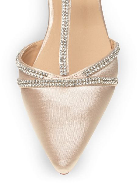 Evans Extra Wide Fit Nude Jewelled Satin Point