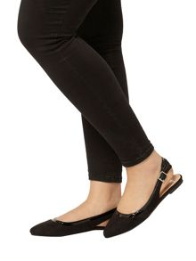 Evans Extra Wide Fit Black Slingback Shoe