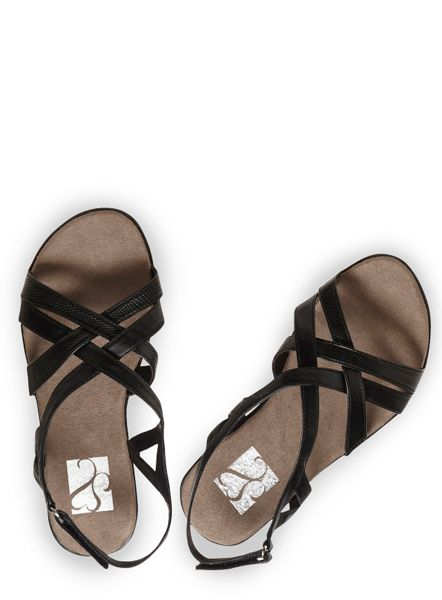 Evans Extra Wide Fit Black Cross Strap Sandal