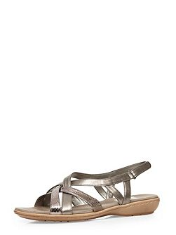 Extra Wide Fit Pewter Cross Strap Sandal