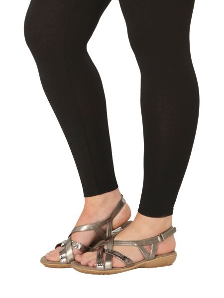 Evans Extra Wide Fit Pewter Cross Strap Sandal