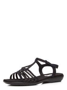 Evans Extra Wide Fit Black Comfort Sandal