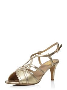 Evans Extra Wide Fit Gold Heeled Sandal