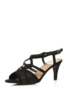 Evans Extra Wide Fit Black Heeled Sandal
