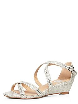 Extra Wide Fit Snake Effect Strap Wedge