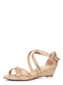 Evans Extra Wide Fit Rose Snake Strap Wedge