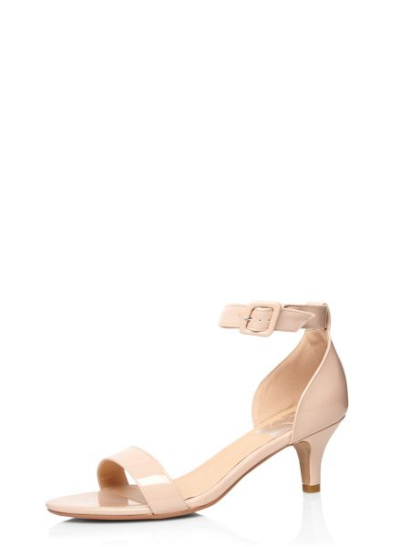 Evans Extra Wide Fit Nude Patent Heeled Sandal