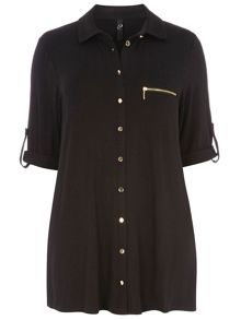Evans Black Zip Pocket Shirt