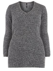 Evans Grey V Neck Ribbed Jumper