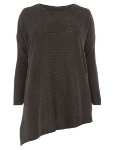 Evans Grey Rib Asymmetric Jumper