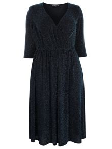 Evans Scarlett & Jo Blue Glitter Jersey Dress