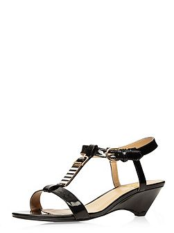 Extra wide fit black embellished patent wedge