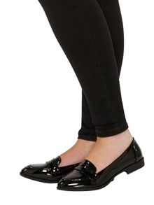 Evans Extra Wide Fit Black Patent Loafer