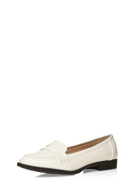 Evans Extra Wide Fit White Patent Loafer