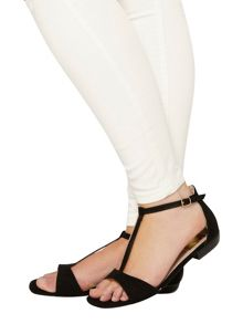 Evans Extra wide fit black t-bar square toe sandal