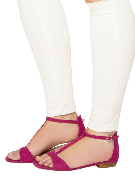 Evans Extra wide fit pink t-bar square toe sandal