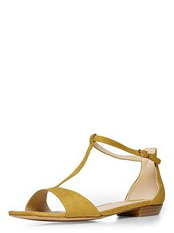 Extra wide fit green t-bar square toe sandal