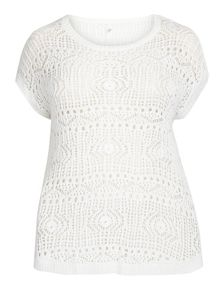 Evans White open stitch jumper