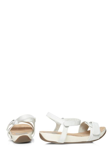 Evans Extra Wide Fit White Adjustable Sandal