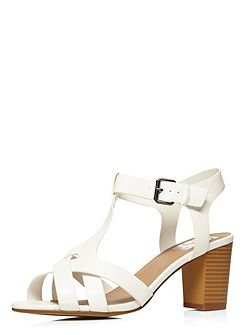 Extra wide fit white block heel sandal