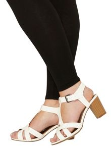 Evans Extra wide fit white block heel sandal