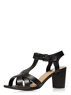 Extra wide fit black block heel sandal