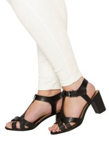 Evans Extra wide fit black block heel sandal