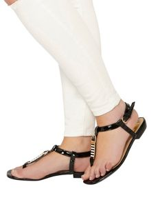 Evans Extra Wide Fit Black Square Toe Sandal