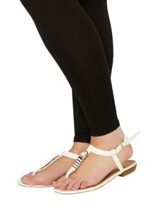 Evans Extra Wide Fit White Square Toe Sandal