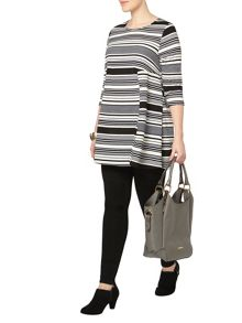 Black and white stripe swing tunic