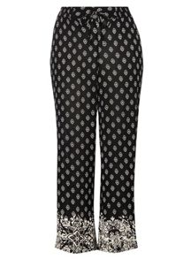 Evans Black print wideleg trousers
