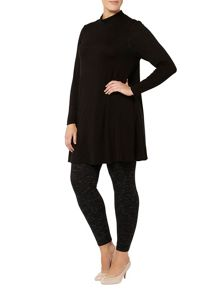Black jersey roll neck tunic