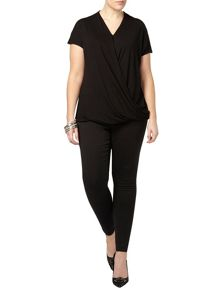 Black jersey wrap front top