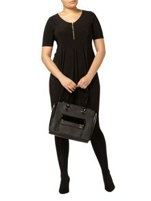 Evans Black Zip Front Dress