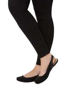 Evans Extra wide fit black square toe sling back