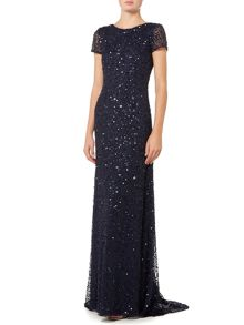 Adrianna Papell Cap sleeve all over sequin dress