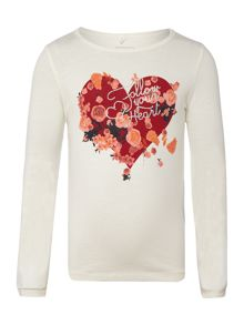 name it Girls Floral heart graphic long sleeved top